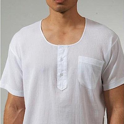 三槍牌3件組時尚型男縐縐布半門襟短袖衫