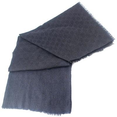 GUCCI 鐵灰/深藍色 G LOGO雙色羊毛混紡方形圍巾披肩(大)