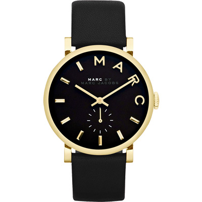 Marc Jacobs Baker 國際舞台小秒針腕錶-黑x金/36mm