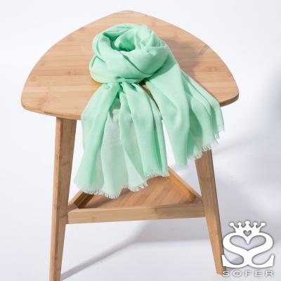 SOFER 經典素色100%羊毛保暖披肩/圍巾 - 蘋果綠