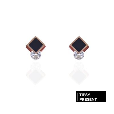 微醺禮物 耳環 正韓 鋼針 鋼飾 鋯石 菱形重疊鑲小鑽 耳針