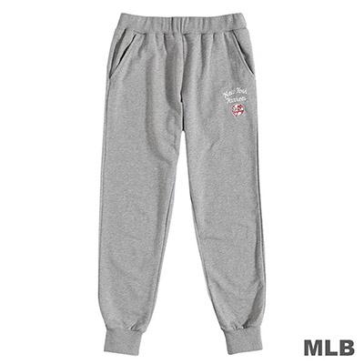 MLB-紐約洋基隊草寫繡花合身縮口棉褲-麻灰 (女)