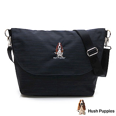 Hush Puppies 兩面翻蓋休閒斜背包(中)-黑/藍