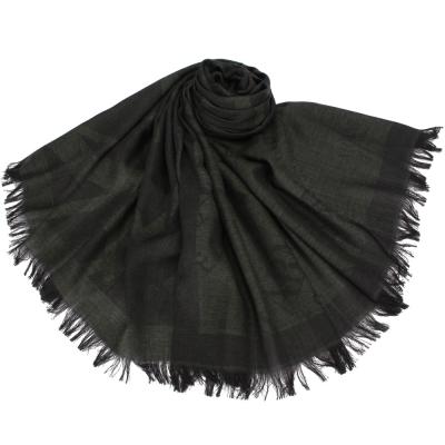Giorgio Armani 字母LOGO混絲羊毛披肩圍巾-深灰色