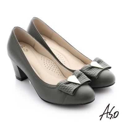 A.S.O 減壓美型 全真皮蝴蝶結奈米窩心高跟鞋 墨綠色