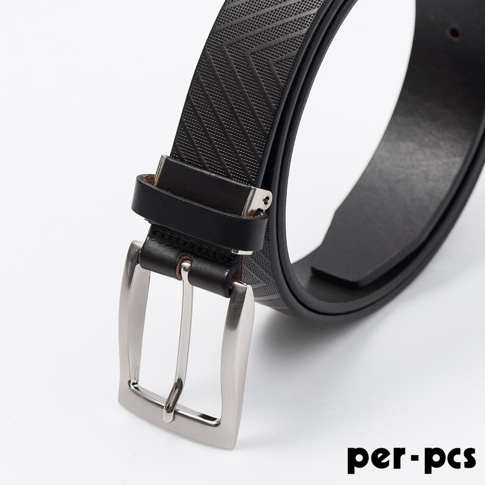per-pcs ZIBIYA嚴選高品質皮革格紋皮帶_黑啡色(F8210B)