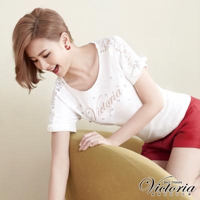 Victoria 蕾絲剪接蝴蝶結綁帶短袖T-女-白