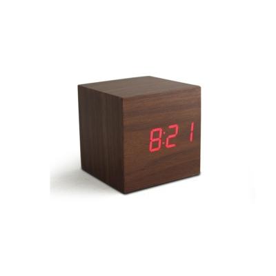 歐風 LED方型木質鬧鐘 (深木/紅燈)