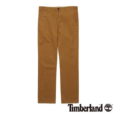 Timberland-男款深棕色素面斜紋修身休閒長褲