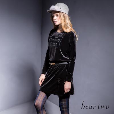 beartwo-個性搖滾風格英文布標口袋洋裝-黑色