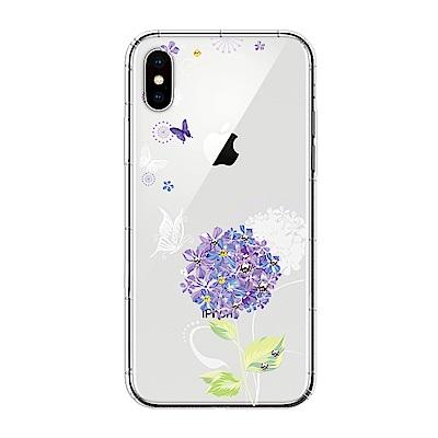【SSTAR】iPhone X 彩繪水鑽空壓防摔殼-紫陽花