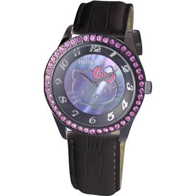 HELLO KITTY凱蒂貓晶鑽優質腕錶 黑