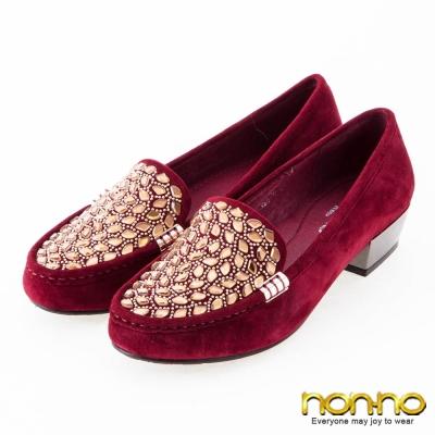 nonno 麂皮時尚 寶石金屬釦粗低跟鞋-酒紅