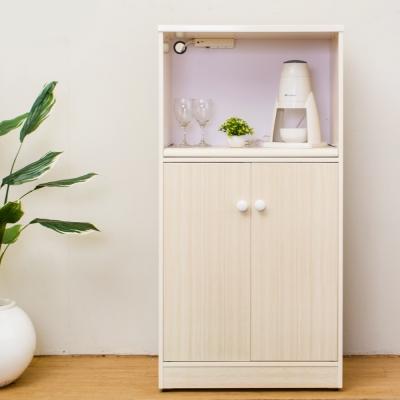 Birdie南亞塑鋼-2.2尺二門塑鋼電器櫃/收納餐櫃(白橡色)-66x41x131cm