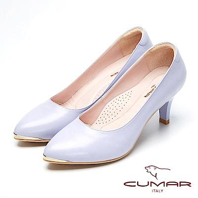CUMAR優雅美型-簡約風格真皮高跟鞋-淺紫色