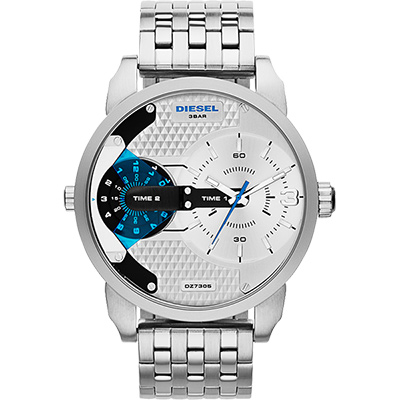 DIESEL Mini Daddy 雙時區腕錶-銀/46mm