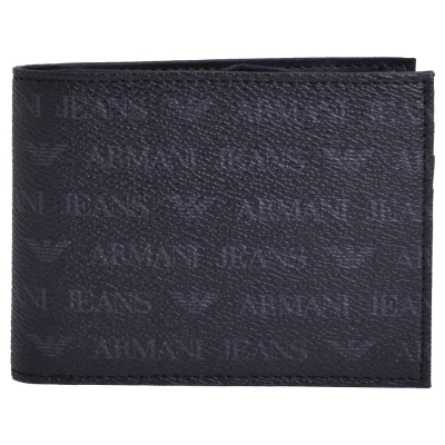 ARMANI JEANS 經典排列LOGO四卡零錢長式短夾(黑)