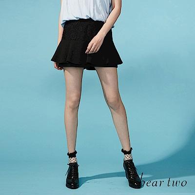 beartwo 網路限定-修飾感蕾絲拼接雙層造型褲裙(二色)