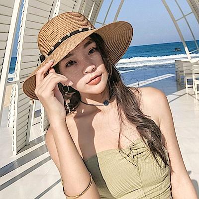 梨花HaNA 韓國去海邊吧~珍珠女孩帽沿裝飾草帽-速
