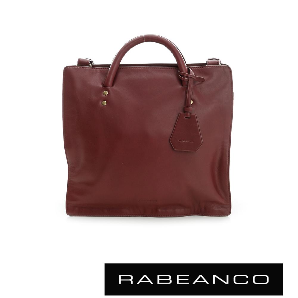 RABEANCO 迷時尚牛皮系列立體手提斜背公事包 棗紅