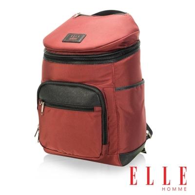 ELLE HOMME 法式精品休閒12吋筆電設計頭層皮直立體圓筒大容量後背包設計款-暗紅