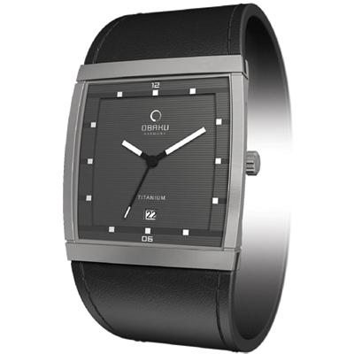 OBAKU方型視覺鈦時尚腕錶-銀灰35mm