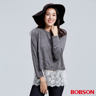 BOBSON  女款珠珠蕾絲寬版上衣