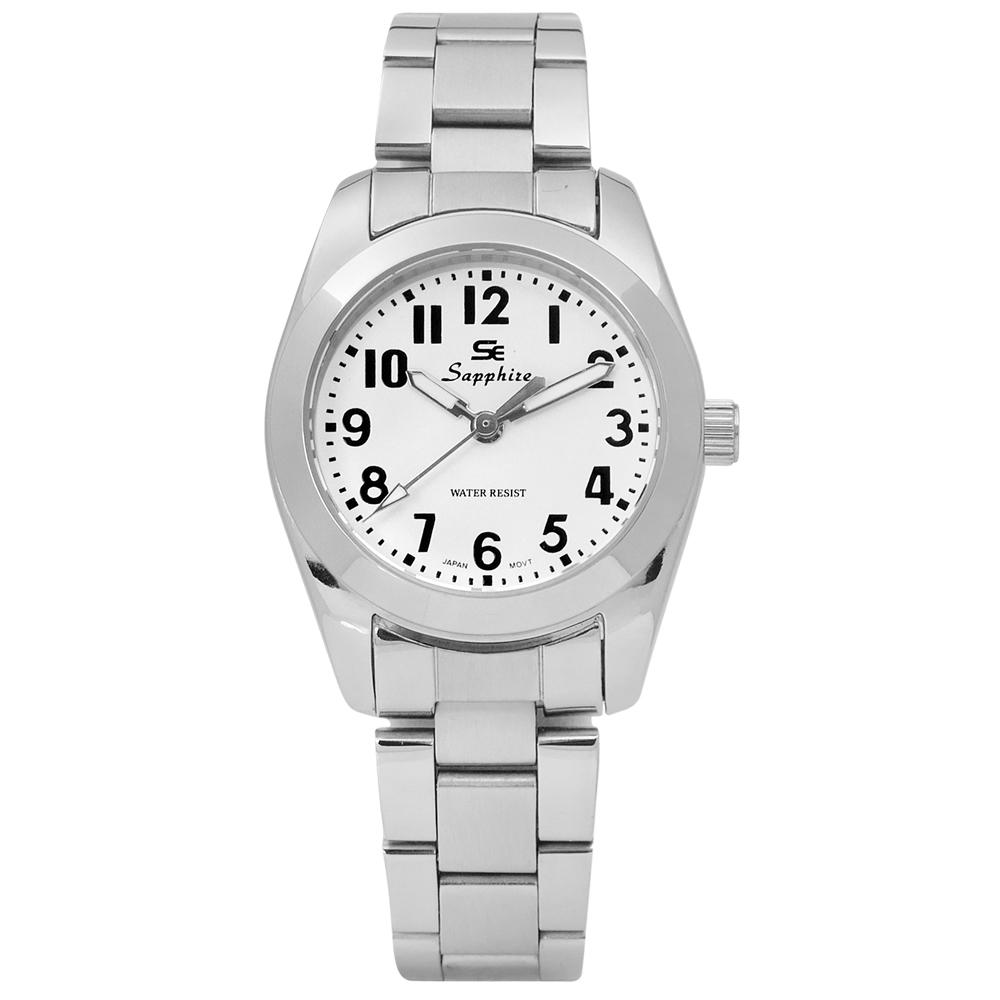 Sapphire 簡潔大方夜光藍寶石水晶不鏽鋼手錶-白色/29mm