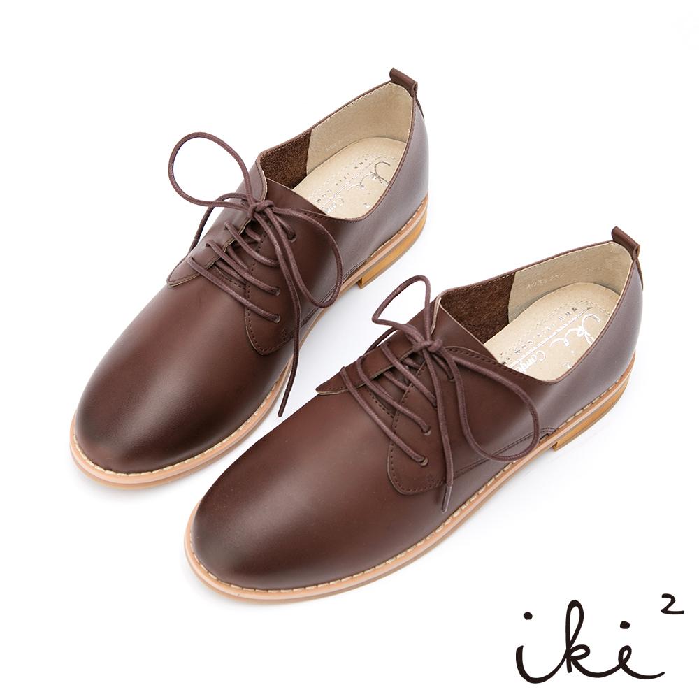 iki2-經典品味真皮親膚牛津鞋-棗紅