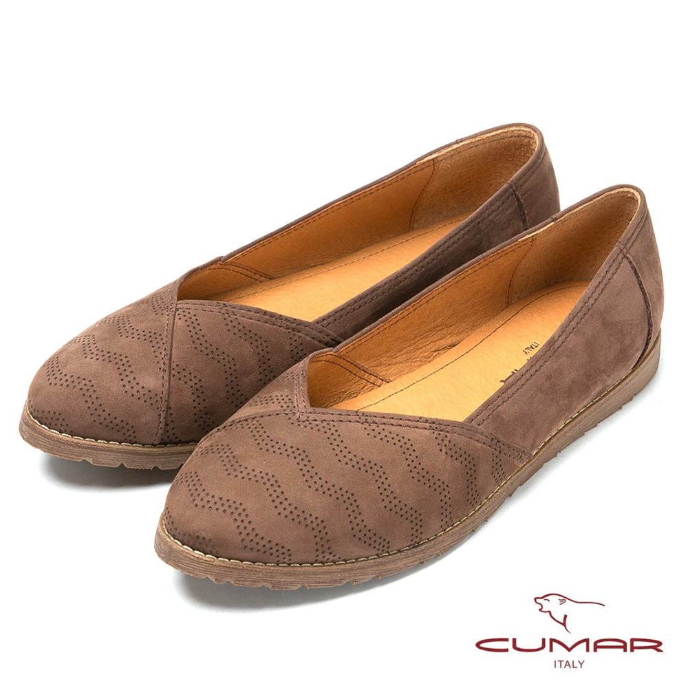 CUMAR台灣製造 嚴選牛皮舒適平底鞋-咖啡色