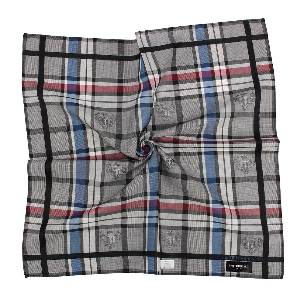 TRUSSARDI 交錯格紋純棉帕巾-紅藍/灰
