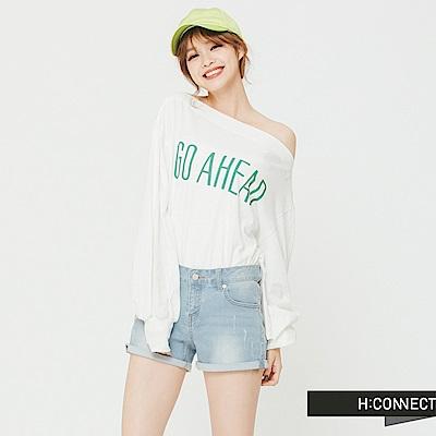 H:CONNECT 韓國品牌 女裝 -GO AHEAD平口上衣-白