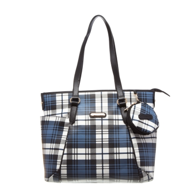 【XINWEI POLO】經典唯美藍格雙側口袋包款附零錢包6318