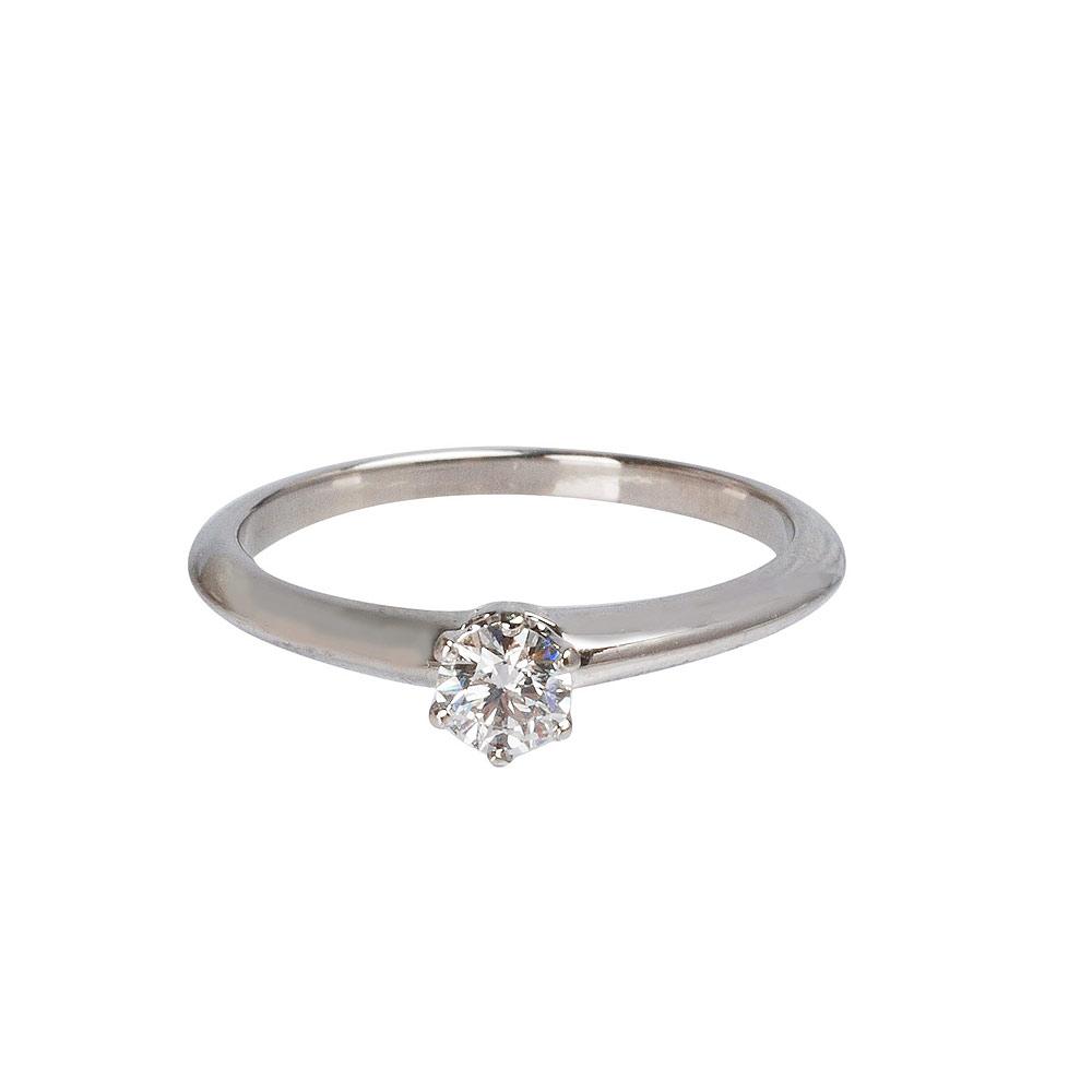 Tiffany&Co. PT950圓型六爪0.22克拉鑽石戒指(#10.5)