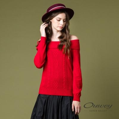 OUWEY歐薇 百搭翻領羅紋針織上衣(紅)