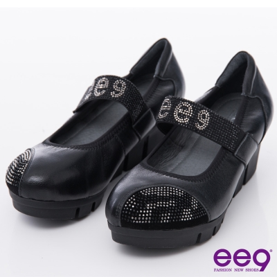 ee9-酷勁十足-閃耀鑲鑽品牌LOGO厚底休閒鞋
