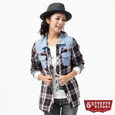 5th STREET 撞色格子襯衫-女-黑藍