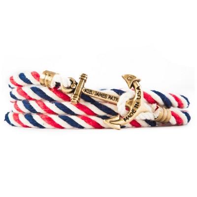 Kiel James Patrick 美國手工船錨棉麻繩多圈手環 藍白紅編織