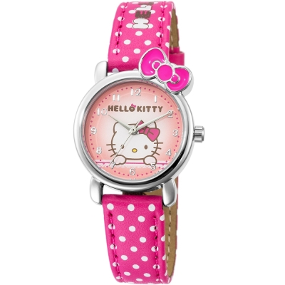 HELLO KITTY 凱蒂貓嬌滴圓點蝴蝶結手錶-紅x粉紅/27mm
