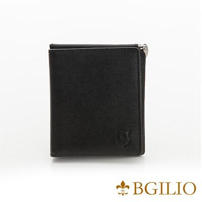 義大利BGilio-都會十字紋牛皮歐風輕薄短夾-黑色-2299.301-05