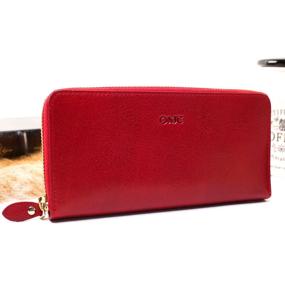 OMC - 原皮魅力真皮系列單拉鍊多層長夾-經典紅