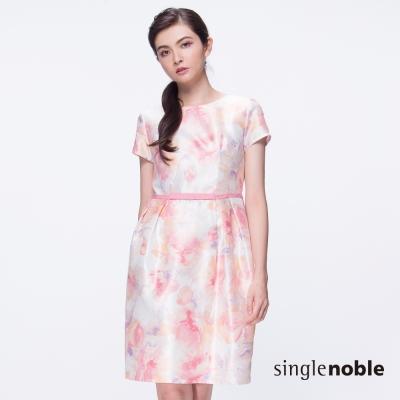 獨身貴族 花漾女神渲染水彩花卉設計傘襬洋裝(2色)