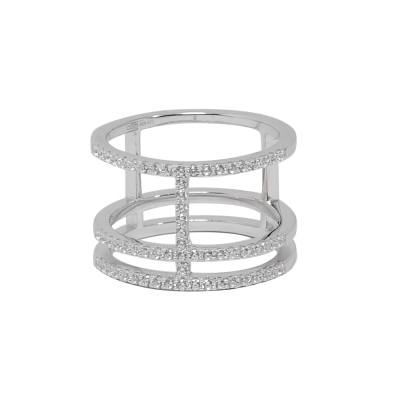apm MONACO法國精品珠寶 閃耀銀色鑲鋯戒指
