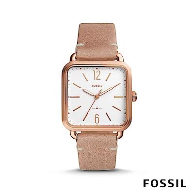 FOSSIL MICAH 方形女錶-玫瑰金