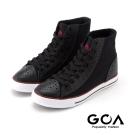GOA 男款經典雕花內增高高筒帆布鞋-黑