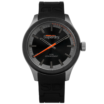 Superdry 極度乾燥 復刻設計防水50米日本機芯玻麗矽膠手錶-黑色/44mm