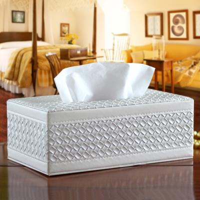 幸福揚邑 編織格紋皮革 磁吸式收納面紙盒-經典白