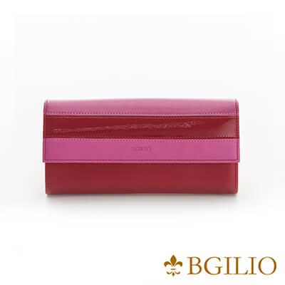 義大利Bgilio Nappa軟牛皮獨特配色釦式長夾-紅色-1942.324B-01