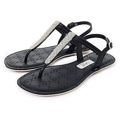 GRENDHA 晶亮菱格紋T字帶涼鞋-黑色