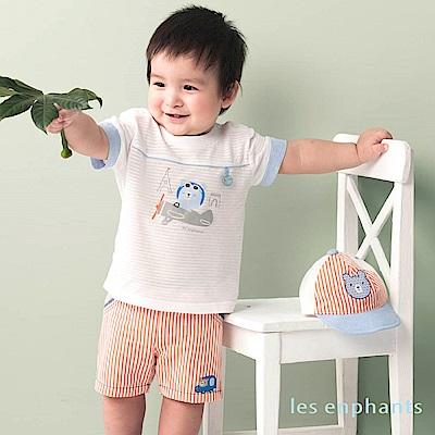 les enphants baby開車小熊條紋鬆緊五分褲 桔色
